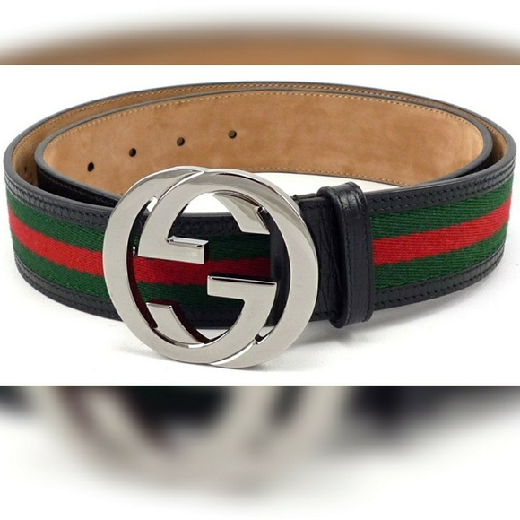 b17cc8f9a Gucci Accessories | Gg Web Belt Black Leather 95 32 33 34 | Poshmark